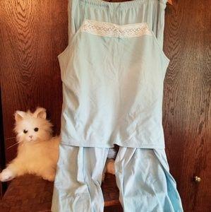 Pink K light blue w/ white lace trim lingerie set